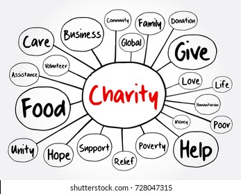 Charity mind map flowchart, business concept for presentations and reports