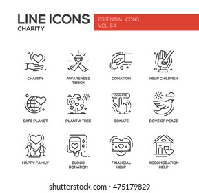 Charity - modern vector line design icons and pictograms set. Awareness ribbon, donation, help children, safe planet, plant a tree, dove of peace, happy family, blood donation, accommodation help