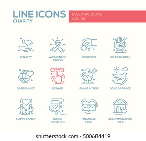 Charity - modern vector line design icons and pictograms set. Awareness ribbon, donation, safe planet, plant a tree, donate, dove, happy family, blood donation, children, financial, accommodation help