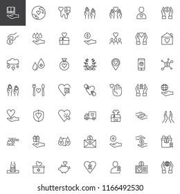 Charity outline icons set. linear style symbols collection, line signs pack. vector graphics. Set includes icons as Blood donation, Voluntary, Donate, Laurel, Love, Delivery truck, Praying hands