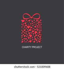 Charity project logo  with heart box. Vector illustration