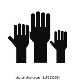 Charity raise hand volunteer icon. Simple illustration of charity raise hand volunteer vector icon for web design isolated on white background