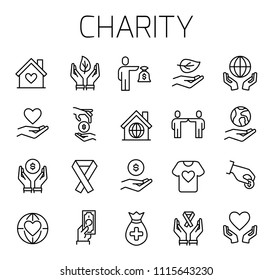 Charity related vector icon set. Well-crafted sign in thin line style with editable stroke. Vector symbols isolated on a white background. Simple pictograms.