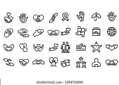 Charity and Relief Icons vector design set