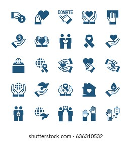 Charity, sponsorship,donation and donor icon set in flat style. Vector symbols.