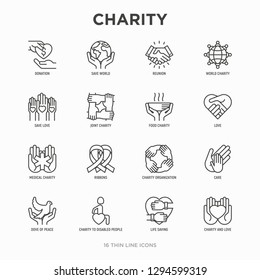 Charity thin line icons set: donation, save world, reunion, humanitarian aid, ribbon, medical support, charity to disabled people, life saving. Modern vector illustration.