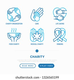 Charity thin line icons set: organization, care, life saving, food charity, ribbons, medical support. Vector illustration.