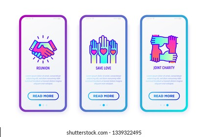 Charity thin line icons set: reunion, volunteers, support. Modern vector illustration for user mobile interface.