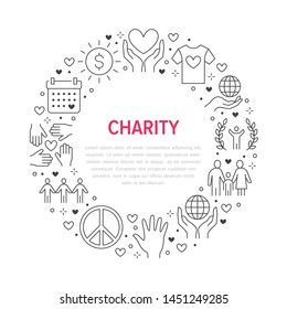 Charity vector circle banner with flat line icons. Donation, nonprofit organization, NGO, giving help illustration. Outline signs for donating money, volunteer community poster.