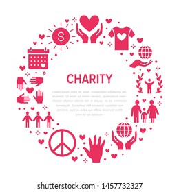 Charity vector circle banner with flat silhouette icons. Donation, nonprofit organization, NGO, giving help illustration. Glyph signs for donating money, volunteer community poster.