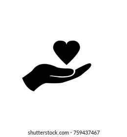 Charity vector icon hands and heart...heart in hand