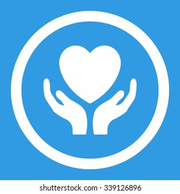 Charity vector icon. Style is flat rounded symbol, bright colors, rounded angles, blue background.