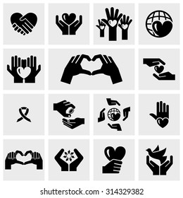 Charity vector icons set on gray