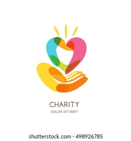 Charity vector logo design template. Abstract colorful heart on human hand, isolated icon symbol emblem. Concept for voluntary non profit organization or health and healthcare themes.