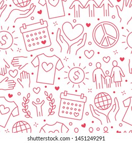 Charity vector seamless pattern with flat line icons. Donation, nonprofit organization, NGO, giving help illustrations. Pink white color background, wallpaper for donating, volunteer community poster.