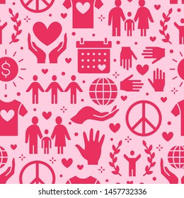 Charity vector seamless pattern with flat silhouette icons. Donation, nonprofit organization, NGO illustrations. Pink red color background, wallpaper for donating, volunteer community poster.
