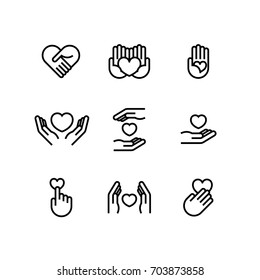 Charity Volunteer Collaboration Heart Love Hands Icon Set