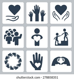 Charity and volunteer icon set