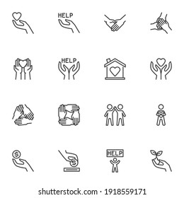 Charity and volunteer line icons set, outline vector symbol collection, linear style pictogram pack. Signs, logo illustration. Set includes icons as hand with heart, friendship, money donation, help