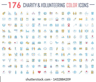 Charity and volunteering color icons big set. Fundraising, philanthropy, humanitarian help, human care. Social responsibility, charitable organization, social welfare. Isolated vector illustrations