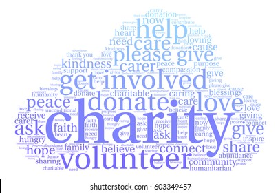 Charity word cloud on a white background.