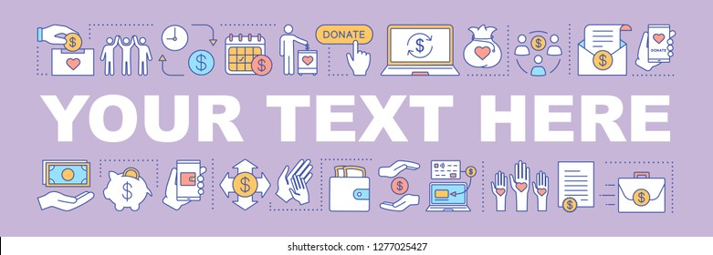 Charity word concepts banner. Charitable foundation. Sponsorship and volunteering. Social welfare and benefits. Your text here. Fundraising. Isolated lettering typography. Vector outline illustration