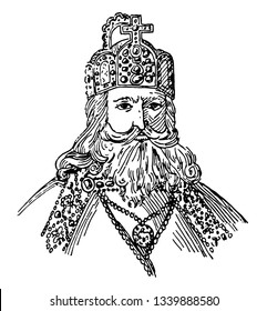 Charlemagne 742 to 814 he was holy Roman emperor king of the Franks king of the Lombard and emperor of the Romans vintage line drawing or engraving illustration