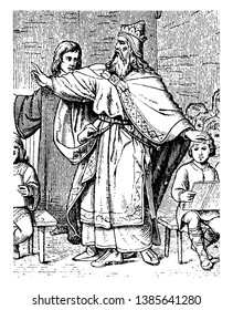 Charlemagne, 742-814, he was holy Roman emperor, king of the Franks, king of the Lombard and emperor of the Romans, vintage line drawing or engraving illustration