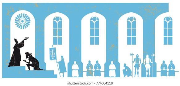 Charlemagne coronation vector illustration