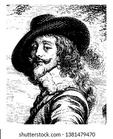Charles I attended by the Marquis of Hamilton, 1600-1649, he was king of the three kingdoms of England, Scotland, and Ireland from 1625 to 1649, vintage line drawing or engraving illustration