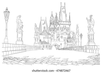 Charles Bridge. Czech Republic. Vector illustration.