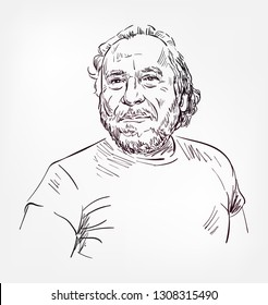 Charles Bukowski vector sketch portrait isolated