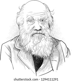 Charles Darwin (1809-1882) hand drawn vector illustration portrait in line art. He was English naturalist and biologist known for his theory of evolution and the process of natural selection.