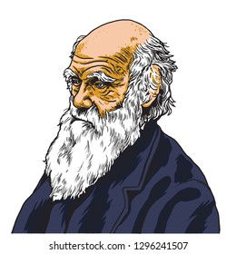 Charles Darwin Vector Cartoon Caricature Portrait Illustration. January 27, 2019