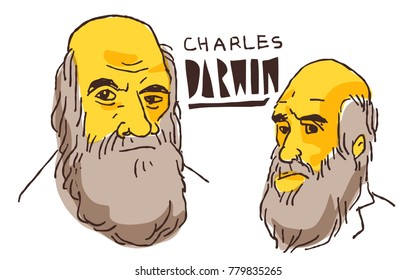 Charles Darwin in yellow and black vector sketch. December 22 2017