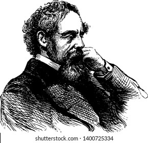 Charles Dickens, 1812-1870, he was an English writer and social critic, one of the most popular English novelists of the Victorian era as well as a vigorous social campaigner, vintage line drawing