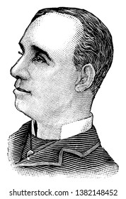 Charles E. Davies, he was an efficient manager of pugilistic affairs, vintage line drawing or engraving illustration