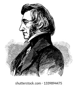Charles Ellet 1810 to 1862 he was a civil engineer and a colonel during the American civil war vintage line drawing or engraving illustration
