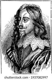 Charles I of England, vintage illustration