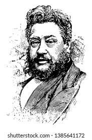 Charles Haddon Spurgeon, 1834-1892, he was an English Particular Baptist preacher, vintage line drawing or engraving illustration
