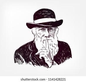 Charles Robert Darwin vector sketch illustration portrait face