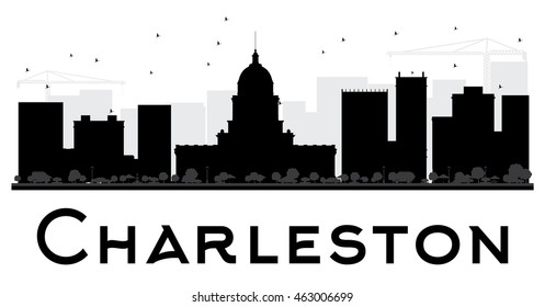 Charleston City skyline black and white silhouette. Vector illustration. Simple flat concept for tourism presentation, banner, placard or web site. Business travel concept. Cityscape with landmarks