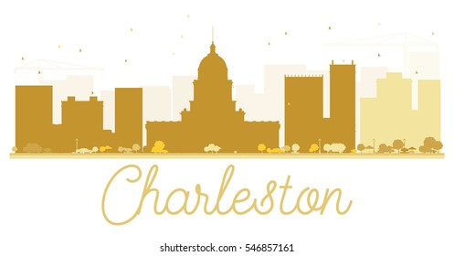 Charleston City skyline golden silhouette. Vector illustration. Simple flat concept for tourism presentation, banner, placard or web site. Business travel concept. Cityscape with landmarks.