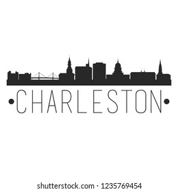 Charleston City Skyline Silhouette City Design Vector Famous Monuments