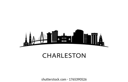 Charleston city South Carolina skyline. Black cityscape isolated on white background. Vector banner.