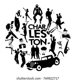 Charleston dance icons. Cars, flapper girls, gangsters and dancers from Charleston