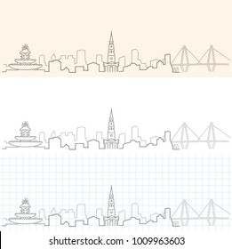 Charleston Hand Drawn Skyline