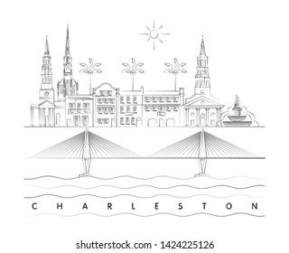 Charleston minimal linear skyline vector illustration and typography design