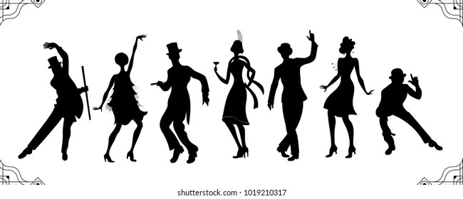Charleston Party. Gatsby style set. Group of retro woman and man black silhouette dancing charleston. Vintage style.retro silhouette dancer.1920 party vector background.Swing dance girl.