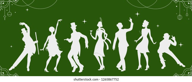Charleston Party. Gatsby style set.dancing charleston. Vintage style.retro silhouette dancer.1920 party vector background.Swing dance girl. Flat People Celebrating Merry Christmas and Happy New Year.